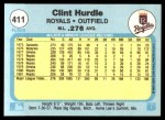 1982 Fleer #411  Clint Hurdle  Back Thumbnail