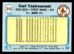 1982 Fleer #312  Carl Yastrzemski  Back Thumbnail