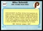 1982 Fleer #637   -  Mike Schmidt 1981 Home Run King Back Thumbnail