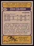 1979 Topps #343  Greg Coleman  Back Thumbnail