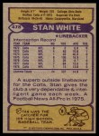 1979 Topps #478  Stan White  Back Thumbnail