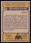 1979 Topps #458  George Kunz  Back Thumbnail