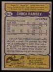 1979 Topps #402  Chuck Ramsey  Back Thumbnail