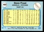 1982 Fleer #460 B Dave Frost  Back Thumbnail
