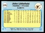 1982 Fleer #576  John Littlefield  Back Thumbnail