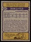 1979 Topps #384  Rob Lytle  Back Thumbnail