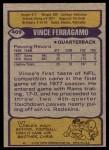 1979 Topps #409  Vince Ferragamo  Back Thumbnail