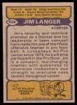1979 Topps #425  Jim Langer  Back Thumbnail