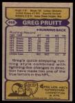 1979 Topps #455  Greg Pruitt  Back Thumbnail