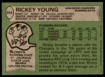 1978 Topps #254  Rickey Young  Back Thumbnail