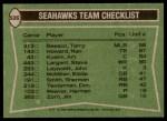 1978 Topps #526   Seahawks Leaders Checklist Back Thumbnail