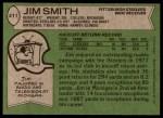 1978 Topps #411  Jim Smith  Back Thumbnail