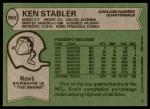 1978 Topps #365  Ken Stabler  Back Thumbnail