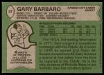 1978 Topps #97  Gary Barbaro  Back Thumbnail