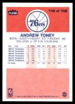 1986 Fleer #114  Andrew Toney  Back Thumbnail