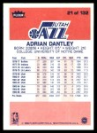 1986 Fleer #21  Adrian Dantley  Back Thumbnail