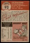 1953 Topps #92  Paul Minner  Back Thumbnail