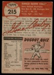 1953 Topps #215  Gene Conley  Back Thumbnail