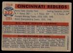 1957 Topps #322   Reds Team Back Thumbnail