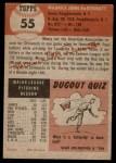 1953 Topps #55  Mickey McDermott  Back Thumbnail