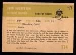 1961 Fleer #174  Jim Norton  Back Thumbnail