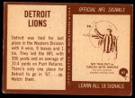 1967 Philadelphia #61   Detroit Lions Team Back Thumbnail