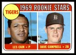 1969 Topps #324   -  Les Cain / Dave Campbell Tigers Rookies Front Thumbnail