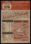 1953 Topps #278  Willie Miranda  Back Thumbnail