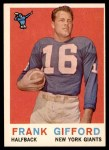 1959 Topps #20  Frank Gifford  Front Thumbnail