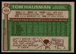 1976 Topps #452  Tom Hausman  Back Thumbnail