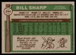 1976 Topps #244  Bill Sharp  Back Thumbnail