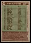 1976 Topps #277   -  Jim Marshall Cubs Team Checklist Back Thumbnail