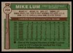 1976 Topps #208  Mike Lum  Back Thumbnail