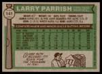 1976 Topps #141  Larry Parrish  Back Thumbnail