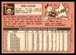1969 Topps #108  Tony Taylor  Back Thumbnail
