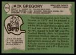 1978 Topps #159  Jack Gregory  Back Thumbnail