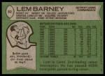 1978 Topps #82  Lem Barney  Back Thumbnail