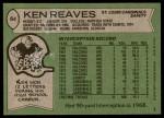 1978 Topps #64  Ken Reaves  Back Thumbnail