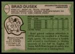 1978 Topps #111  Brad Dusek  Back Thumbnail