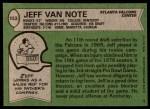 1978 Topps #153  Jeff Van Note  Back Thumbnail