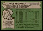 1978 Topps #230  Claude Humphrey  Back Thumbnail