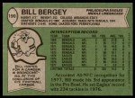 1978 Topps #190  Bill Bergey  Back Thumbnail