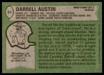 1978 Topps #61  Darrell Austin  Back Thumbnail
