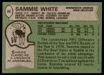 1978 Topps #30  Sammie White  Back Thumbnail