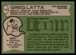 1978 Topps #112  Greg Latta  Back Thumbnail