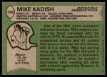1978 Topps #148  Mike Kadish  Back Thumbnail