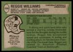 1978 Topps #229  Reggie Williams  Back Thumbnail