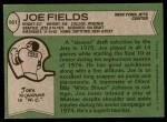 1978 Topps #161  Joe Fields  Back Thumbnail