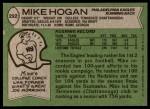 1978 Topps #292  Mike Hogan  Back Thumbnail