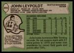 1978 Topps #293  John Leypoldt  Back Thumbnail